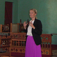 PhD fellow Jannie Nielsen is introducing the research project in the chapel at Bwera Hospital, Kasese, in Uganda
