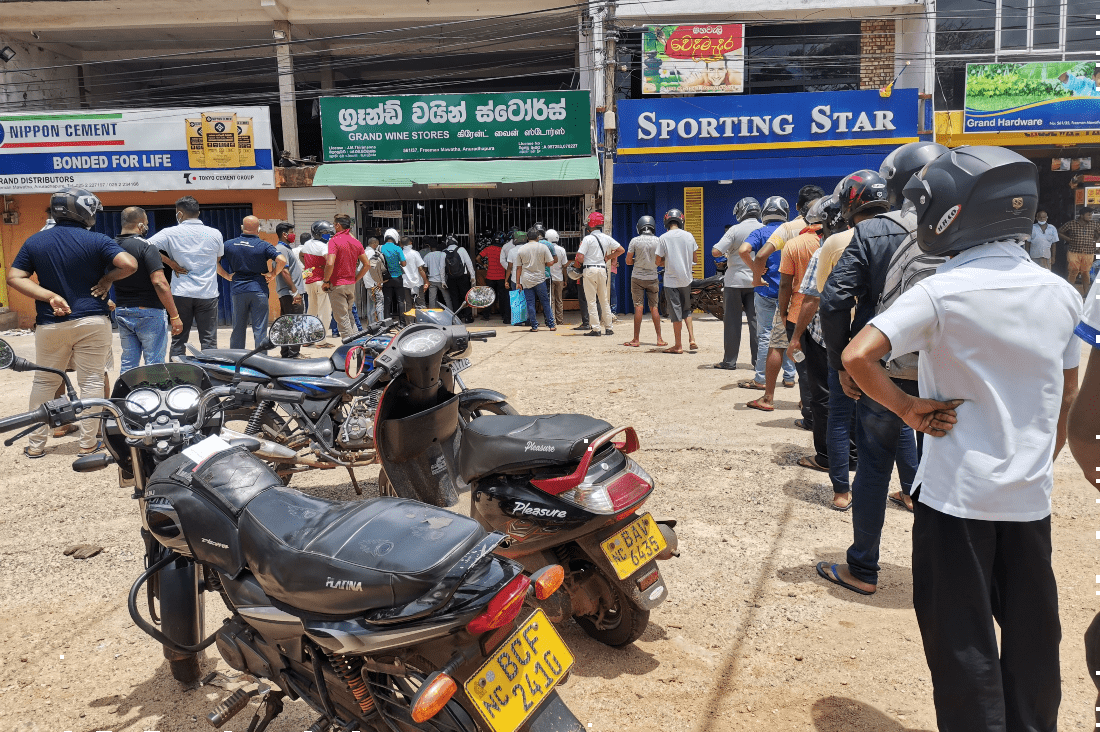 Long queues in front of a Sri Lankan wine store