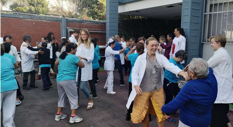 Students dancing with patients at hospital in Mexico