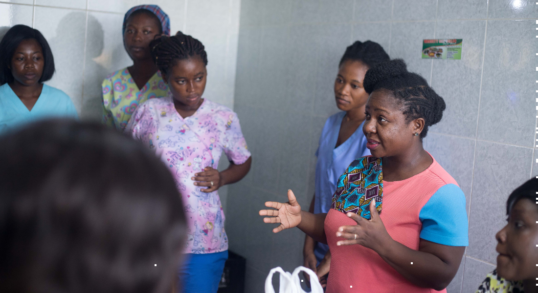 Nurses receive feedback from Gifty on their hand hygiene practices in the neonatal intensive care unit.
