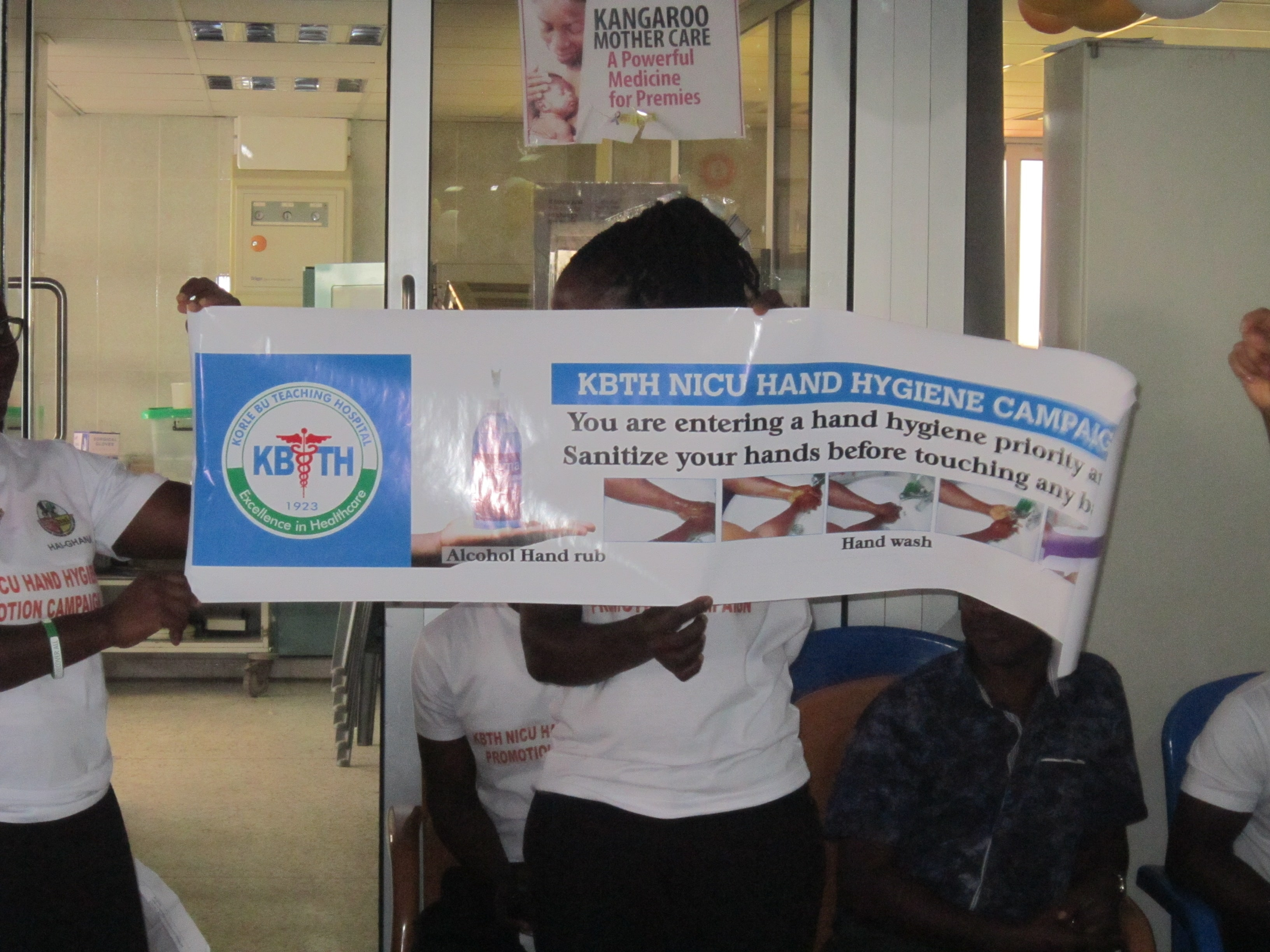 The unveiling of a hygiene banner in a neonatal ward in Korle-Bu hospital.